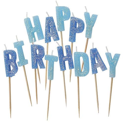 Velas Happy Birthday Azul