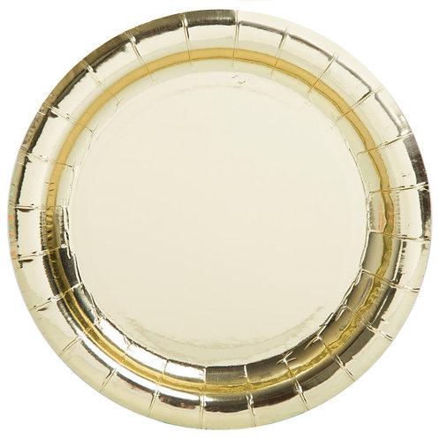 8 Pratos Dourado Metalizado