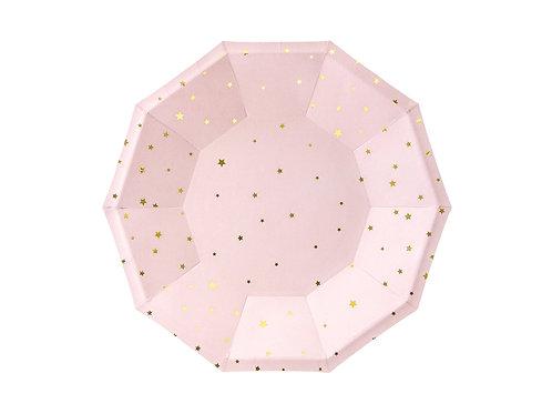 6 Pratos Rosa com Estrelas Douradas