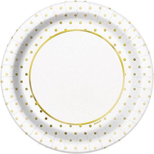8 Pratos Brancos com Bolas Douradas