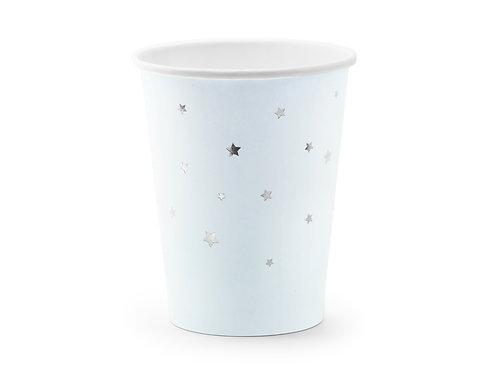 6 Copos Azuis com Estrelas Prateadas
