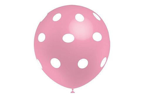 Balão Látex Bolinhas Rosa Claro