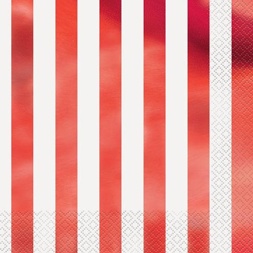 Guardanapos Brancos com Riscas em Vermelho Metalizado
