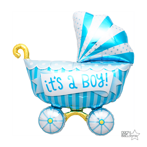 Balão de Foil Carrinho de Bebé Azul