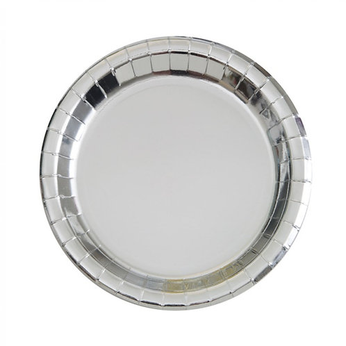 8 Pratos Prateado Metalizados (17,1 cm)