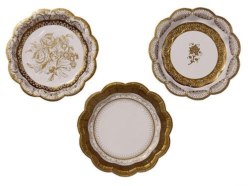 12 Pratos Dourados de 3 Designs