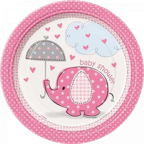 8 pratos Baby Shower Elefante Rosa