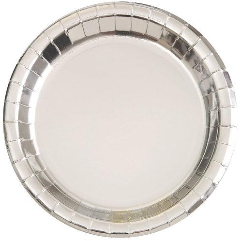 8 Pratos Prateado Metalizado (21,9 cm)