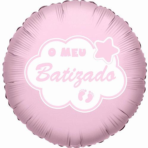 """Balão Foil Rosa """"O Meu Batizado"""""""