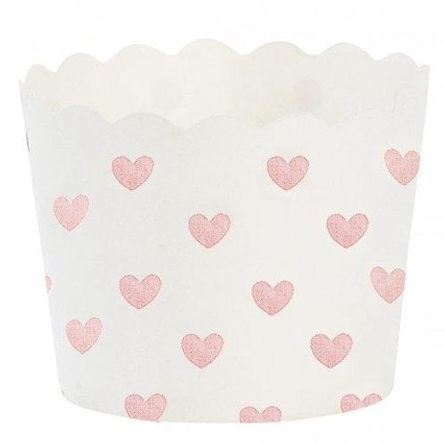 Formas de Cupcakes Branco com Corações Rosa