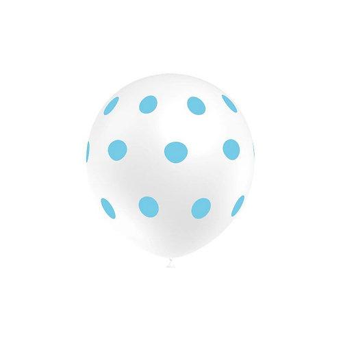 Balão Látex Branco Bolinhas Azuis