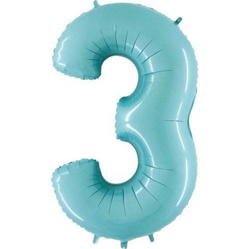 Balão Nº 3 Azul Claro