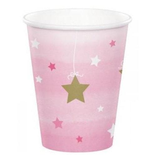 8 Copos Rosa Claro Estrelas