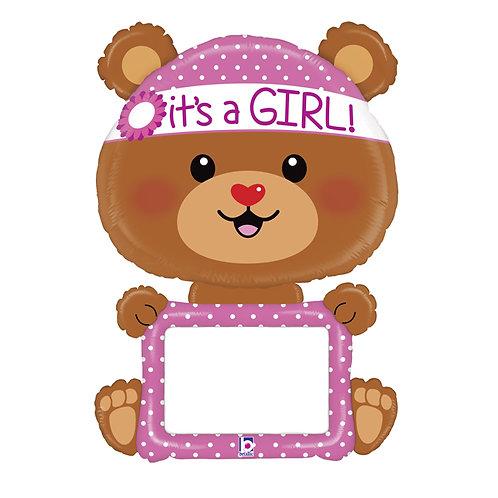 """Balão de Foil urso """"It's a girl"""""""