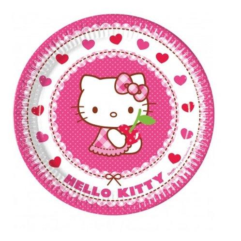 8 Pratos Hello Kitty Grandes