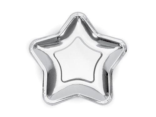 6 Pratos Estrela Prateado
