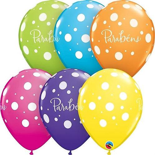 """Balão de Látex Roxo Impresso com Pintinhas brancas e """"Parabéns"""""""
