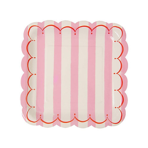 12 pratos quadrados riscas rosa e branco