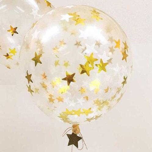 Balão Látex com Estrelas Brancas e Douradas