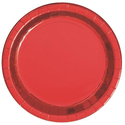 8 Pratos Vermelho Metalizado