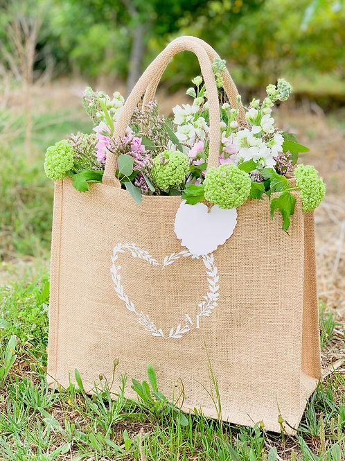 Bolsa de juta com flores