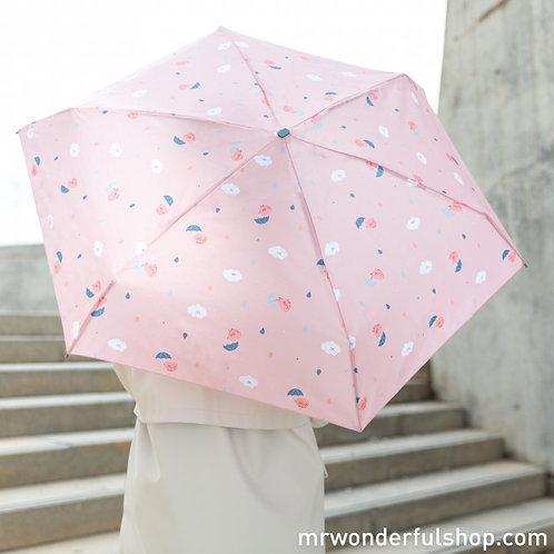 Guarda-Chuva Pequeno Rosa - ESTAMPADO DE CORAÇÕES E NUVENS
