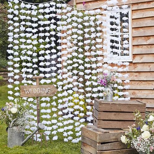 Cortina Branca Floral