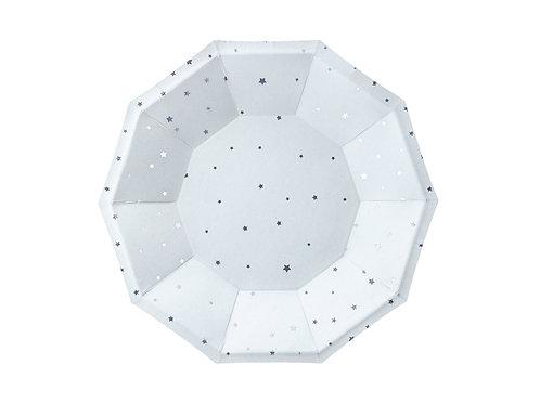 6 Pratos Azul com Estrelas Prateadas