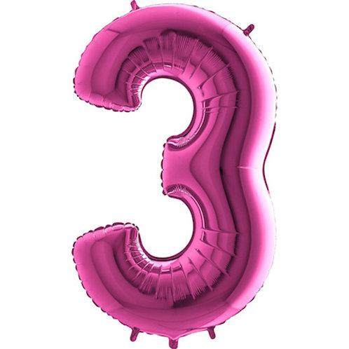 Balão Nº 3 Rosa Escuro