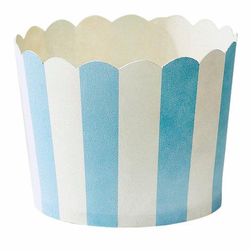 Formas de Cupcakes Brancas com Riscas Azuis