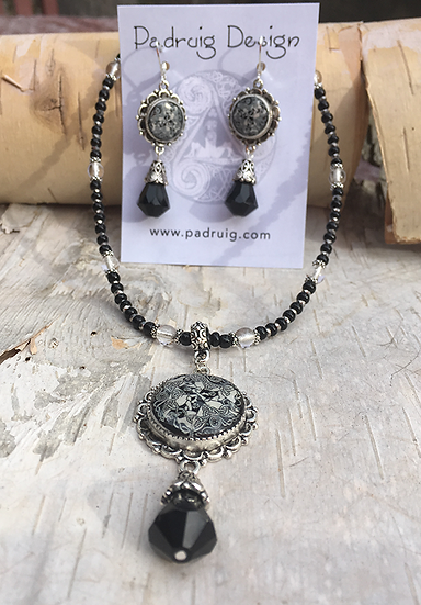 Antique Silver Dream Horse with Black Faceted Drop