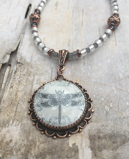 Grey Copper Dragonfly Necklace