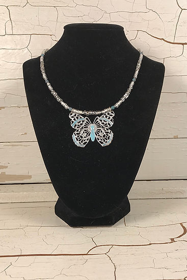 Hand Painted Silver Butterfly Necklace