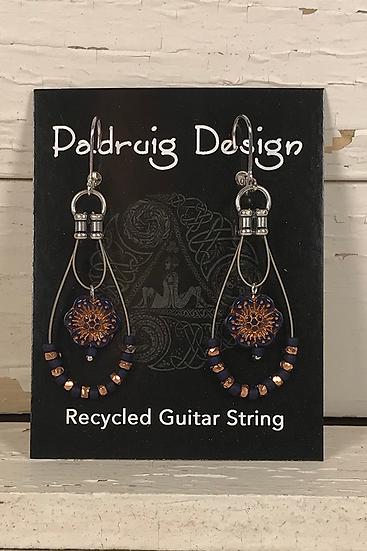 Navy Rose Guitar String Earrings