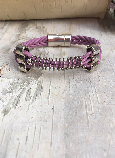 Recycled Electric Guitar String Bracelet Berry