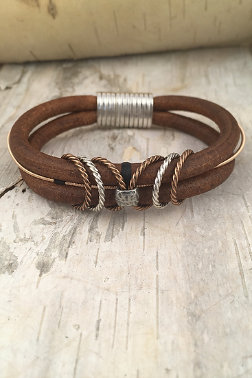 Brown Leather Guitar String Bracelet