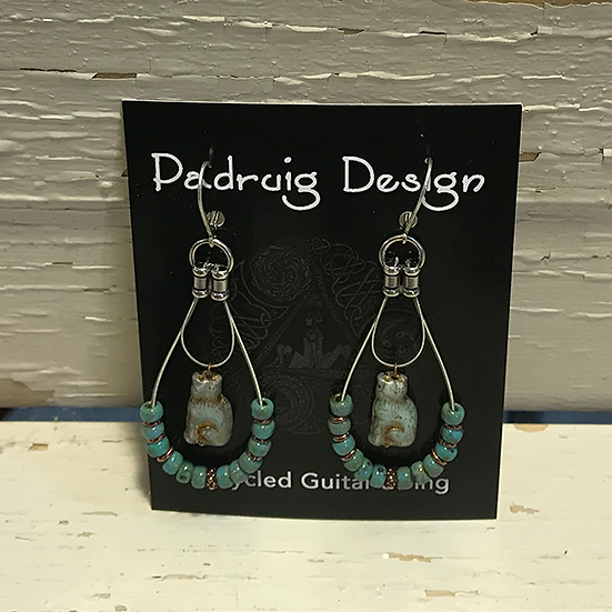 Turquoise Cat Guitar String Earrings