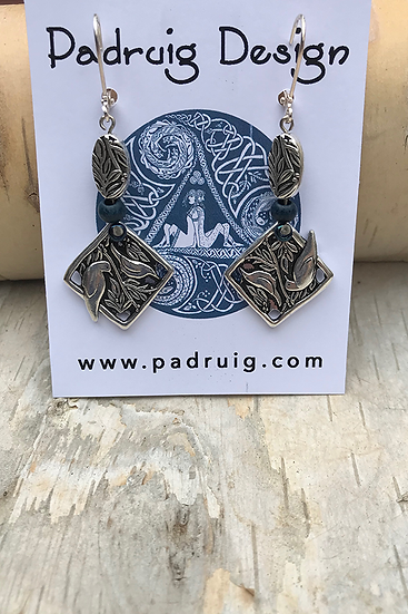 Silver Birds Indigo Earrings