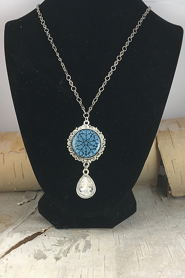 Silver Blue Troyes Star with Crystal Teardrop Necklace