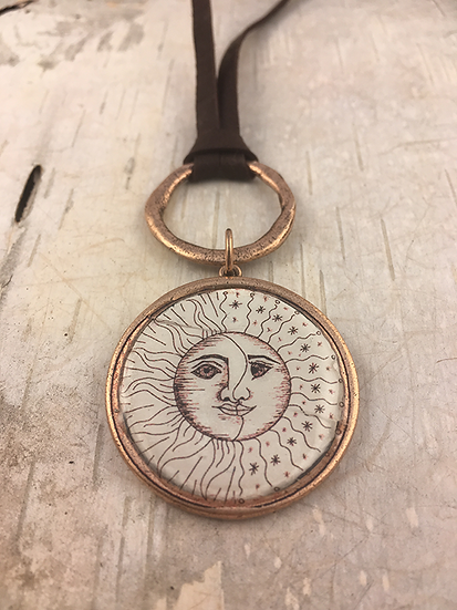 Copper Sun, Moon, & Stars Deerskin Lace Necklace