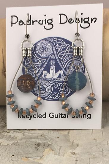 Double sided Moon Guitar String Earrings