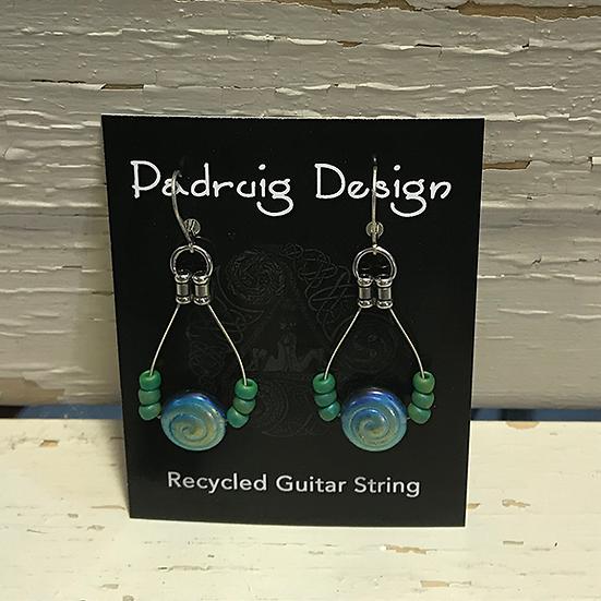 Aqua Spiral Guitar String Earrings