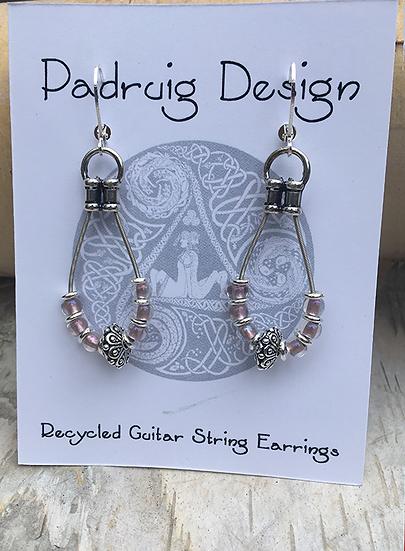 Recycled Guitar String Earrings Rose