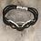 Thumbnail: Silver 3 Circle Black Bass String Bracelet
