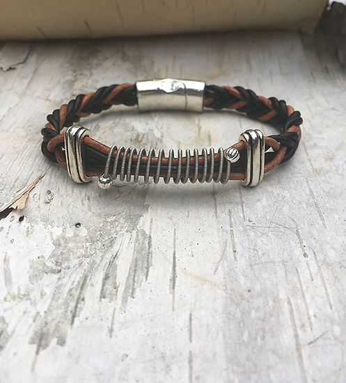 Black & Brown Leather Electric Guitar String Bracelet
