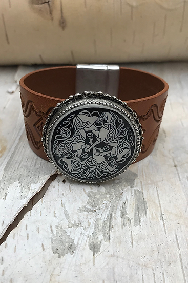 Silver Dream Horses Tooled Natural Leather Bracelet