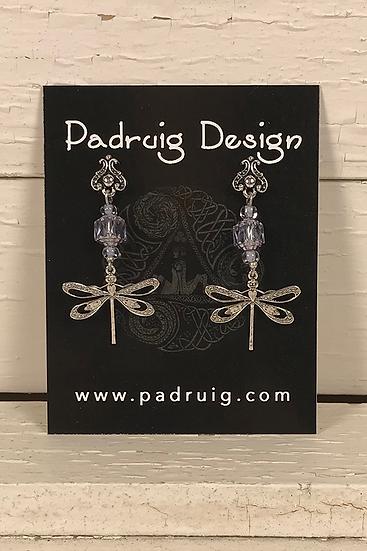 Silver Dragonfly Earrings Alexandrite