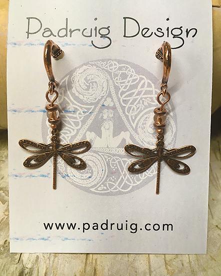 Copper Dragonfly Post Earrings