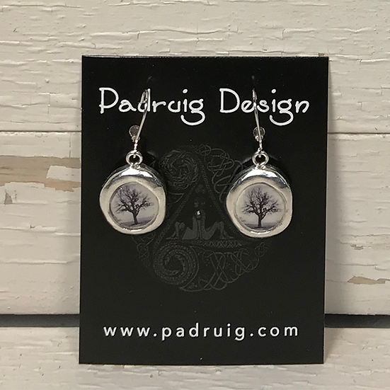 Silver Raven Tree Crest Earrings