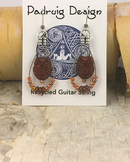 Vega Owl Guitar String Earrings